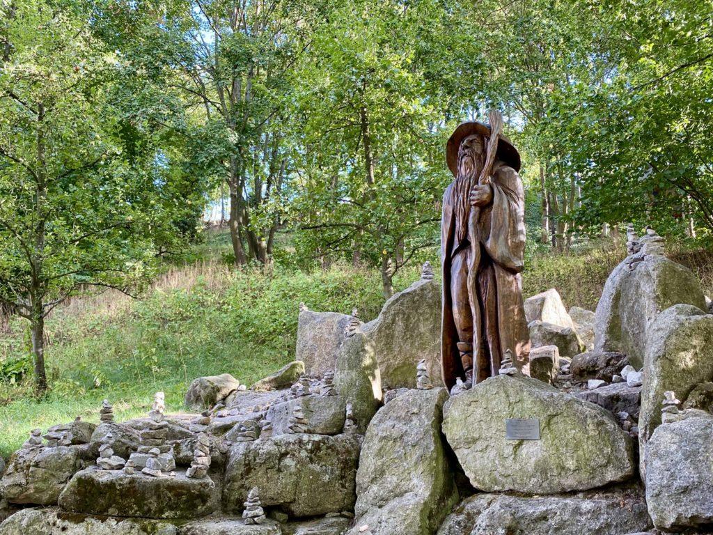 Statue Ruebezahl im tschechischen Teil des Landesgartenschauparks